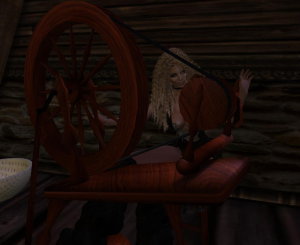 Spinning the wool for her project